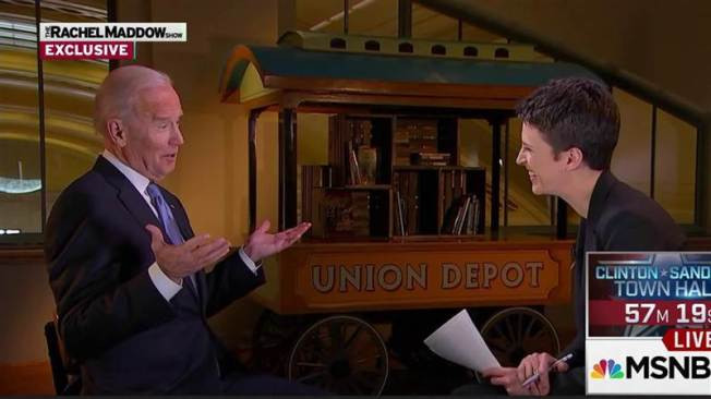 CLICK ON PHOTO TO SEE FULL INTERVIEW MSNBC Rachel Maddow with Vice President Joe Biden February 18, 2016